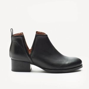 JEFFREY CAMPBELL Oriley Lo Black Leather Booties